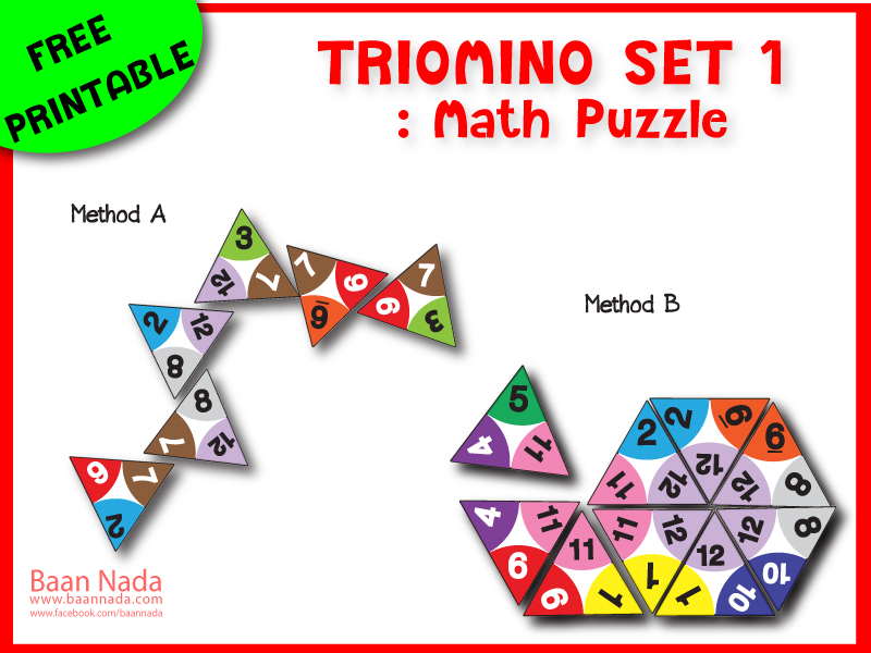 Printable : Triomino Math Puzzle